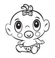 funny bagirl cute bagirl sitting in a diaper vector image