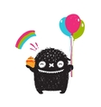 Funny Happy Cute Little Black Monster with Sweets vector image vector image