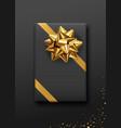 gift box black color gold bow ribbon design vector image vector image