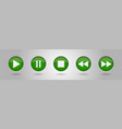 green music control buttons set vector image vector image