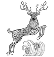 Hand drawn magic horned deer with birds in the vector image vector image