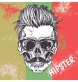hipster skull human vector image vector image