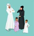 isometric arabic muslim family traditonal arab vector image