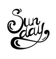lettering sunday written by hand calligraphic vector image