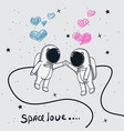 love of astronauts boy and girl vector image vector image