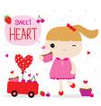 love valentine girl cute cartoon character vector image vector image