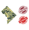 military camouflage collage of map of district vector image
