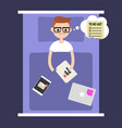 modern nightmare conceptual insomnia young nerd vector image vector image