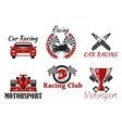 Motorsport and racing sport icons vector image vector image