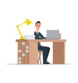Office worker man behind a desktop isolated on vector image vector image