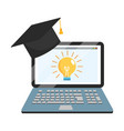online education laptop cartoon vector image vector image