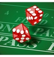Playing dice on casino table vector image vector image