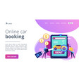 rental car service concept landing page vector image vector image