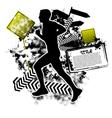 running grunge vector image