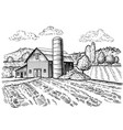 rural landscape farm barn and windmill sketch vector image vector image