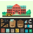 School building with education icons vector image vector image