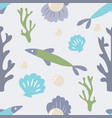 seamless ocean background with fish coral shell vector image vector image