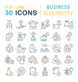 set line icons business electricity vector image vector image