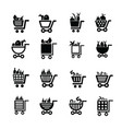 shopping cart icons food and number vector image vector image