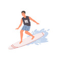 smiling guy standing on surfboard ride at wave vector image