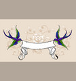 swallow with ribbon vector image