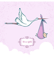 Stork with baby-girl vector image