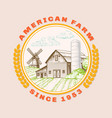 american farm barn for agriculture with windmill vector image vector image