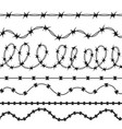 barbed wire black silhouettes pattern brush vector image vector image