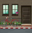 Bicycle parking in front of the house vector image vector image