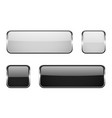 black and white square glass buttons with metal vector image vector image