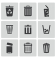 black trash can icons set vector image vector image
