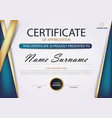 blue gold elegance horizontal certificate vector image vector image