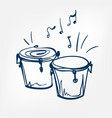 bongo sketch isolated design element vector image vector image