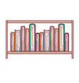 books stacked in shelf in colorful silhouette with vector image vector image