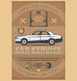 car mechanic service retro poster vector image vector image