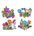 Carnival party kawaii sticker set Cute cats vector image vector image