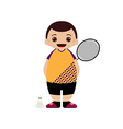 Cartoon badminton player vector image