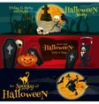 Cartoon Halloween party banners and posters vector image