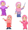 cartoon muslim girl collection set vector image