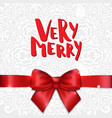 christmas greeting card with red satin bow and vector image vector image