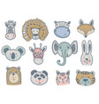 collection cute animal heads for baby vector image
