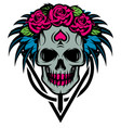 color with bride skull rose vector image vector image