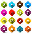 Colorful Arrows Set in Squares Isolated on White vector image vector image