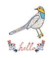 Concept hello card with floral decorative bird vector image