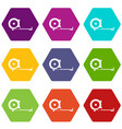 construction roulette icon set color hexahedron vector image vector image