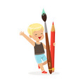 cute blonde little boy holding giant red pencil vector image vector image
