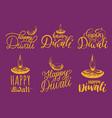 diwali festival set of hand lettering lamp vector image