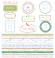 Doodle Hand drawn seamless line border with logo vector image vector image