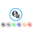 euro and dollar coins rounded icon vector image vector image