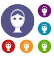 face marked out for cosmetic surgery icons set vector image